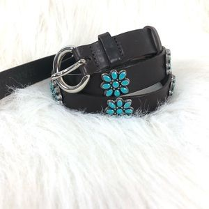 Harold's brown leather turquoise belt. Size XS